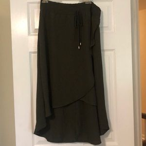 Olive green high low skirt